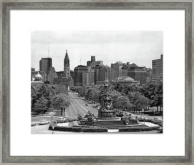1950s Benjamin Franklin Parkway Looking Framed Print