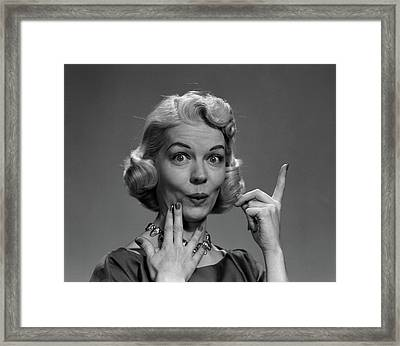 1950s Blond Woman Lips Pursed In Funny Framed Print