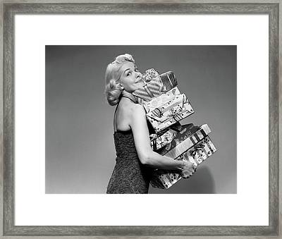 1950s Blond Woman Strapless Dress Framed Print