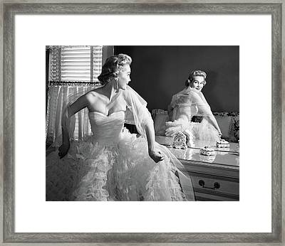 1950s Blonde In Strapless Gown Framed Print