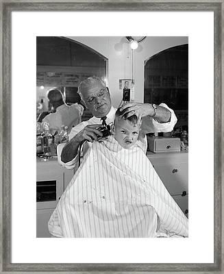 1950s Boy In Barbershop Getting Framed Print