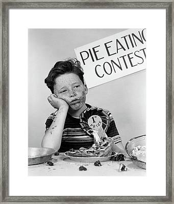 1950s Boy Wins 1st Prize At Pie-eating Framed Print