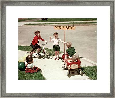 1950s Boys And Girls Outdoor Framed Print
