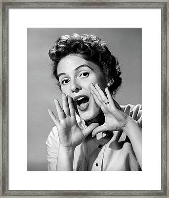1950s Character Woman Shouting Hands Framed Print