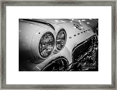 1950's Chevrolet Corvette C1 In Black And White Framed Print by Paul Velgos