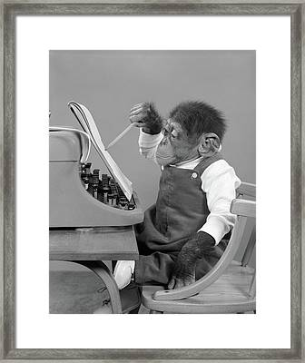 1950s Chimp In Overalls Sitting Framed Print