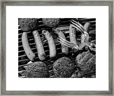 1950s Close-up Of Grill Filled With Hot Framed Print