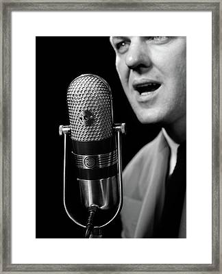 1950s Close-up Of Man Announcer Talking Framed Print