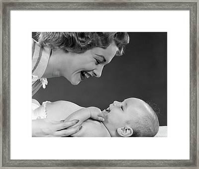 1950s Close-up Profile Of Smiling Framed Print