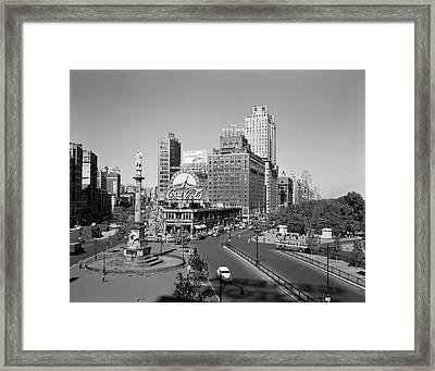 1950s Columbus Circle Looking North Framed Print