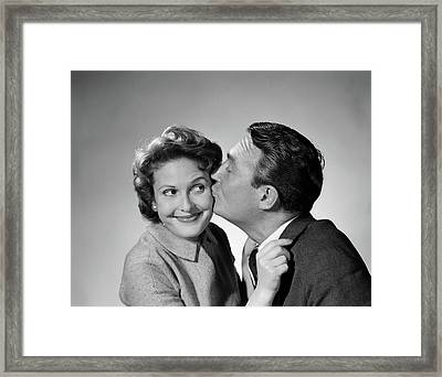 1950s Couple Enthusiastic Man Kissing Framed Print