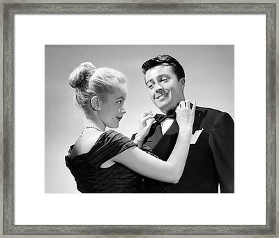 1950s Couple In Formal Attire Woman Framed Print