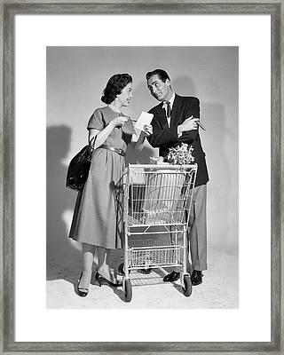 1950s Couple Man Woman Shopping Cart Framed Print