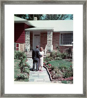 1950s Couple Man Woman Standing Arm Framed Print