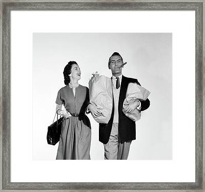 1950s Couple Walking Woman Smiling Framed Print