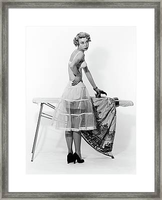 1950s Distracted Woman Wearing Framed Print