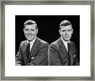 1950s Double Exposure Of Man Framed Print