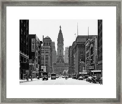 1950s Downtown Philadelphia Pa Usa Framed Print