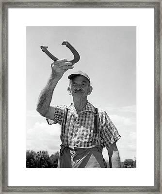 1950s Elderly Man Squinting One Eye Framed Print