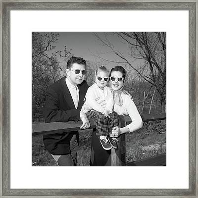 1950s Family Portrait With Sunglasses Framed Print