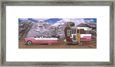 1950s Family Vacation Panoramic Framed Print