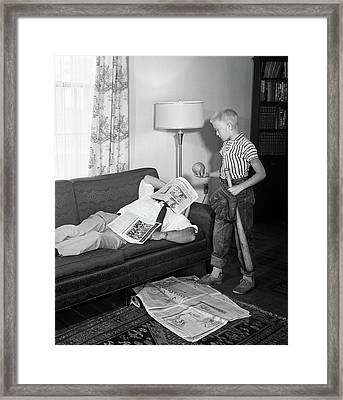 1950s Father Lying On A Sofa Framed Print