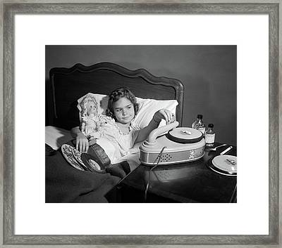 1950s Girl Sick In Bed Playing Records Framed Print