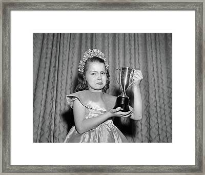 1950s Girl Tiara Satin Dress Holding Framed Print