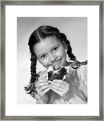 1950s Girl With Pigtails Looking Framed Print