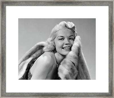1950s Glamorous Woman Posing Wearing Framed Print