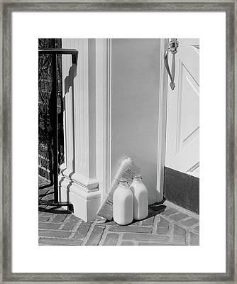 1950s Glass Milk Bottles And Newspaper Framed Print