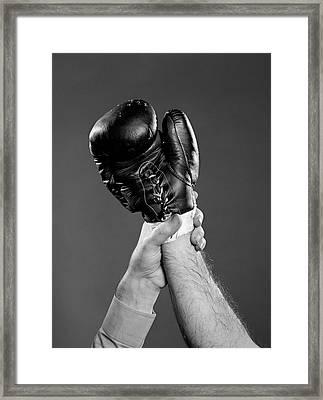 1950s Gloved Hand Of Winner Of Boxing Framed Print