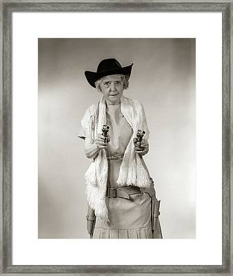 1950s Granny Cowgirl Wearing Hat & Framed Print
