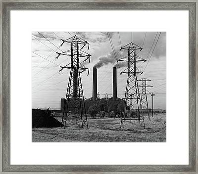 1950s Industrial Power Plant Billowing Framed Print