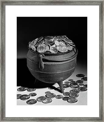 1950s Iron Pot Overflowing With Coins Framed Print