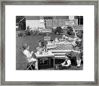 1950s Kids In Backyard Playing Store Framed Print