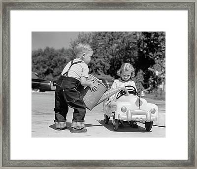 1950s Little Boy Playing Gas Station Framed Print
