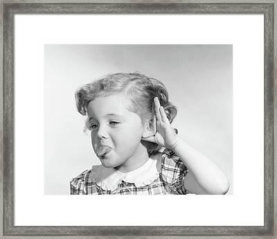 1950s Little Girl Making Rude Gesture Framed Print