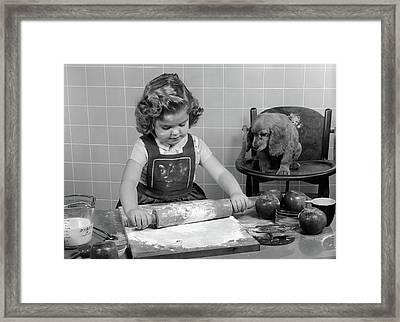 1950s Little Girl Rolling Out Apple Pie Framed Print