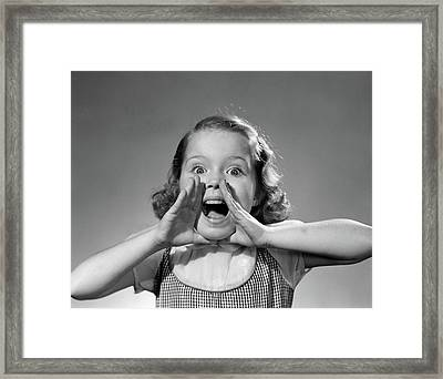 1950s Little Girl Shouting Yelling Framed Print