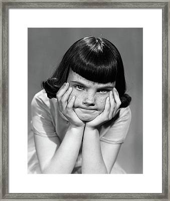 1950s Mad Angry Frustrated Young Girl Framed Print