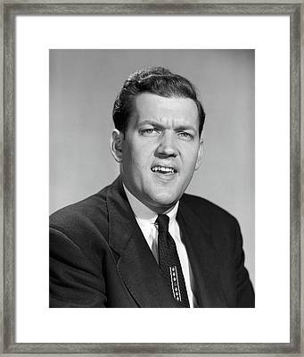 1950s Man Business In Suit And Tie Framed Print
