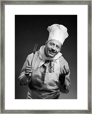 1950s Man Chef Smiling With Expressive Framed Print
