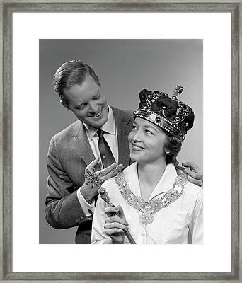 1950s Man Holding Royal Necklace Framed Print