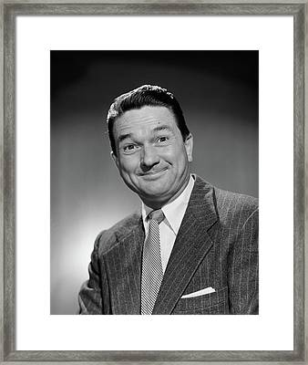 1950s Man In Business Suit Smiling Framed Print