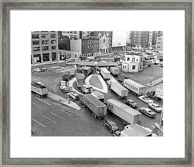 1950s Overhead Of Traffic Congestion Framed Print