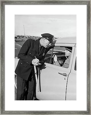 1950s Policeman With Stopped Motorist Framed Print