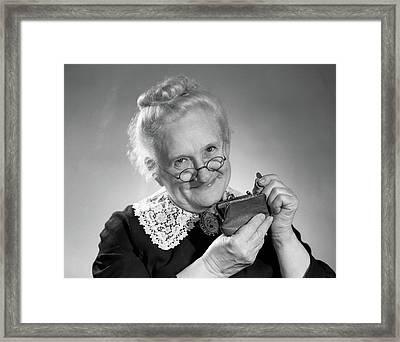 1950s Portrait Of Elderly Granny Framed Print