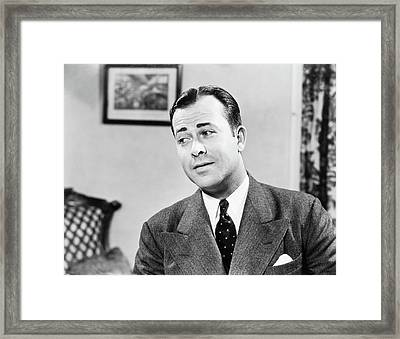 1950s Portrait Of Man Inside Living Framed Print