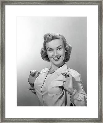 1950s Portrait Of Proud Smiling Woman Framed Print